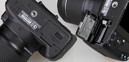Canon EOS 100D - baterie a paměťová karta