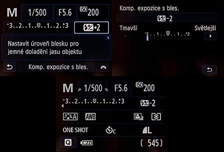 Canon EOS 100D - nastavení expozice s výklopným bleskem