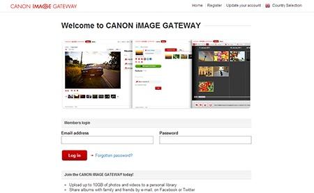 Canon iMAGE Gateway - webové rozhraní, přihlášení