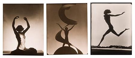 František Drtikol: vlevo a uprostřed bez názvu, 1932 a 1930, vpravo Fotografický obraz (varianta), 1930; photo © František Drtikol — dědicové, 2013