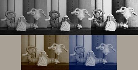 obrazové styly - monochromaticky + sepia/blue