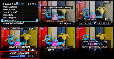 sada tvůrčích efektů/filtrů v normální nabídce