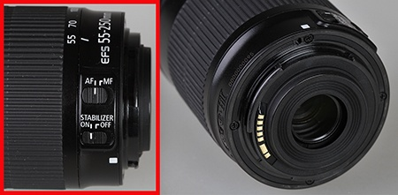 Canon EF-S 55-250 IS STM - ovladače a bajonet