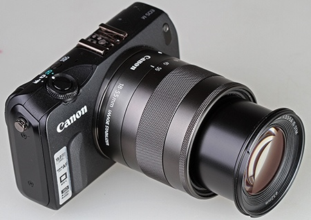 Canon EF-M 18–55 IS STM na EOS M a vyzoomovaný