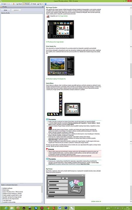 Canon PIXMA Pro-10 - souhrn instalovaných a dostupných aplikací