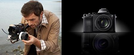 Sony Alfa 7 v akci a symbolická ilustrace říkající, že i malý přístroj se vyrovná velkému DSLT