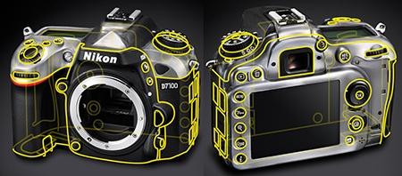 Nikon D7100 - schéma utěsnění těla
