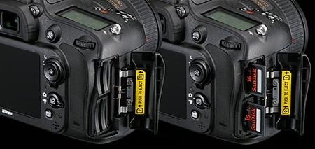 Nikon D610 - dva sloty pro paměťové karty