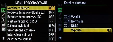 Nikon D610 - korekce vinětace