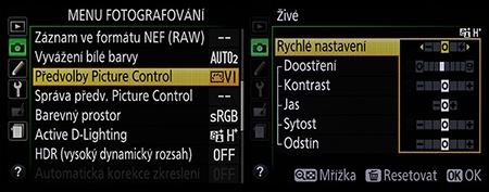 Nikon D610 - sada funkcí pro úpravy parametrů snímků