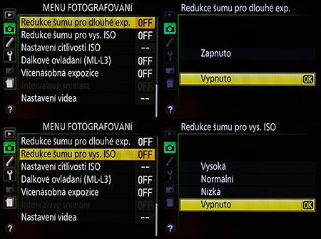 Nikon D610 - redukce šumu