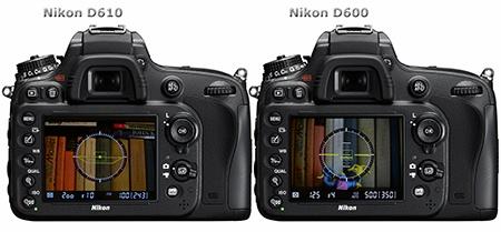 Nikon D600 a D610 - zadní stěny