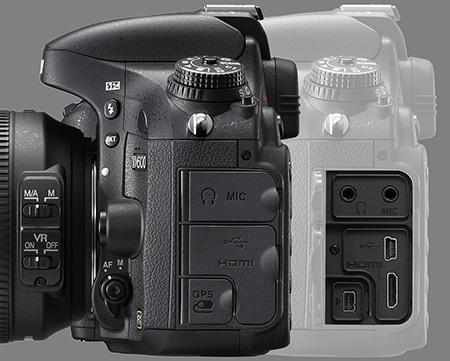 Nikon D600 - konektory