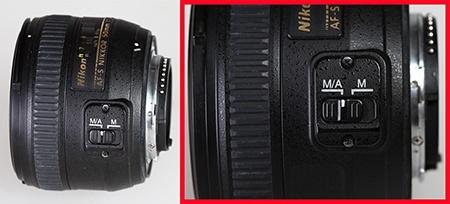 Nikon AF-S Nikkor 50 mm 1:1,4G - přepínač režimů ostření