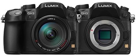 Lumix GH3 - zepředu s objektivem a bez